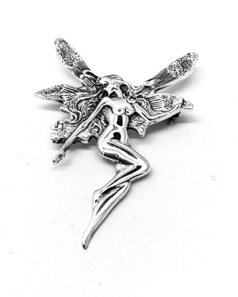 Genuine 925 Sterling Silver Argt Nouveau Style Fairy Brooch Hallmarked